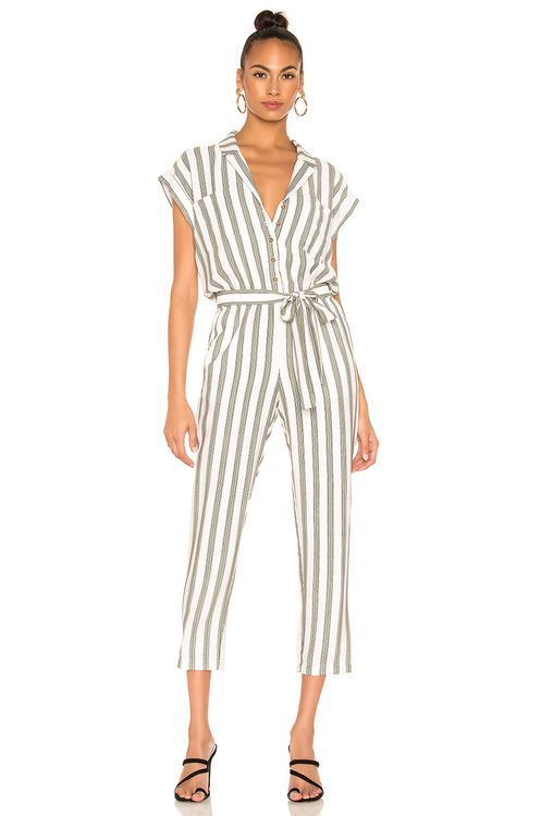 1. STATE Button Front Regancy Stripe Jumpsuit