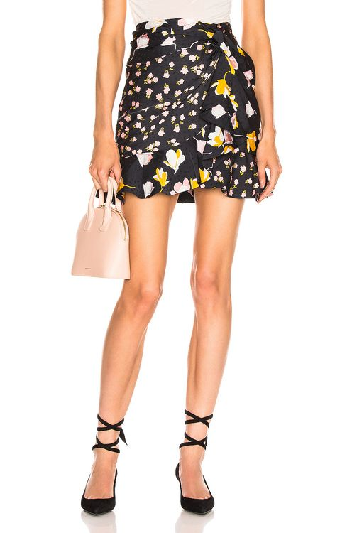 Self Portrait Floral Printed Jacquard Skirt