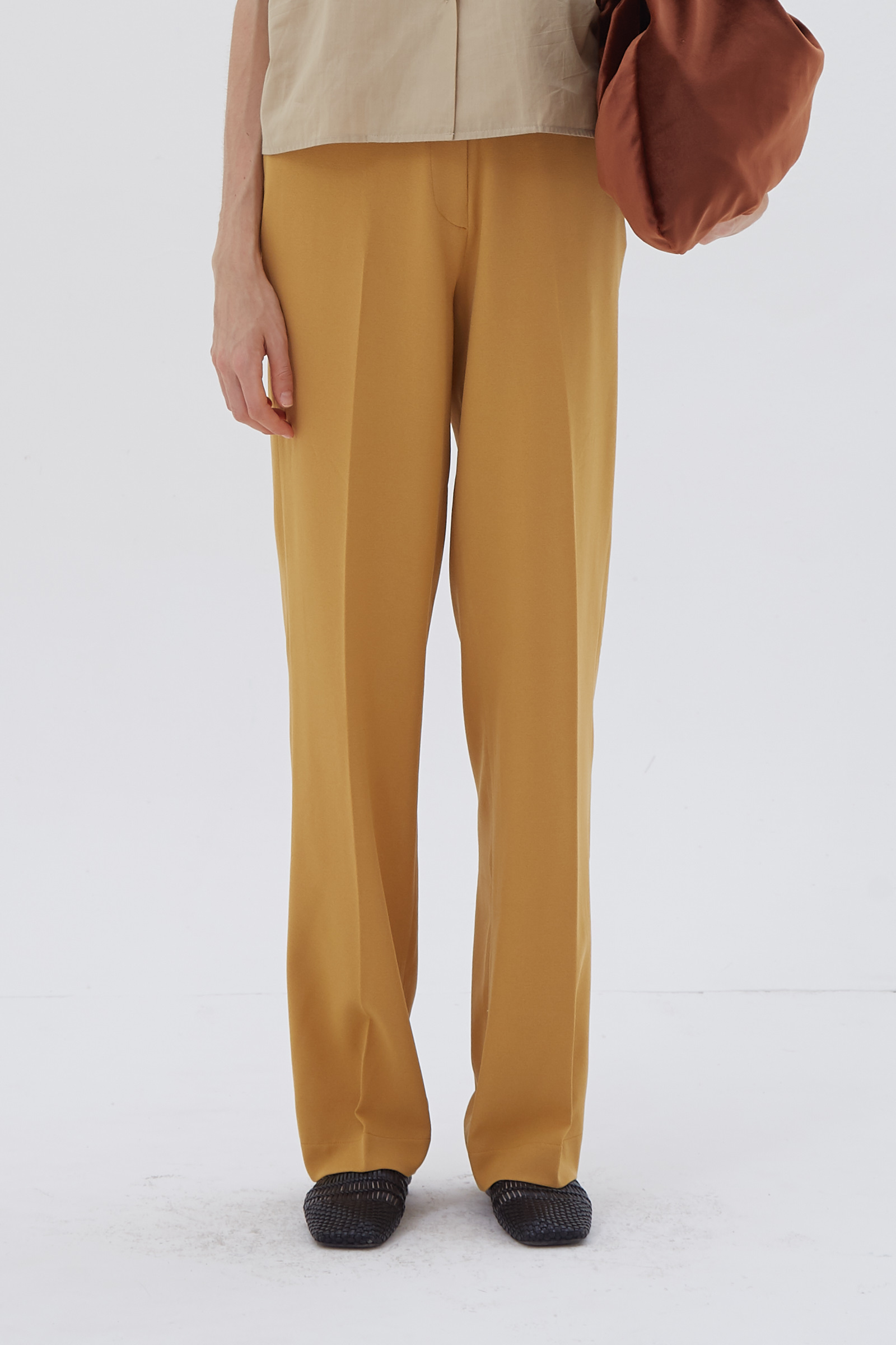 Shopatvelvet Column Trousers Mustard