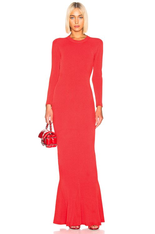 Brandon Maxwell Long Sleeve Knit Gown