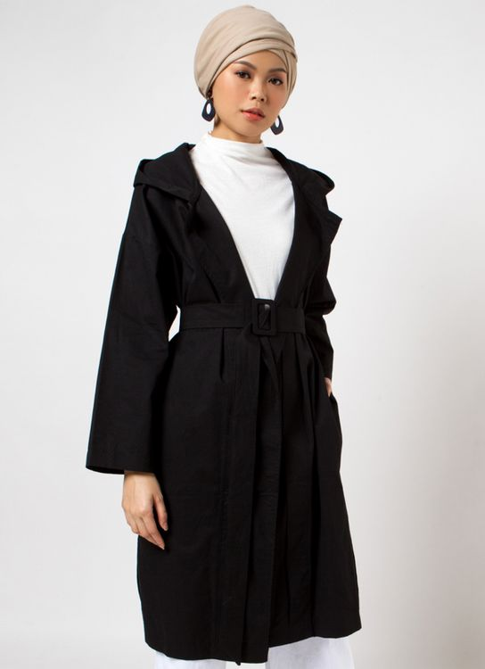 Sayee Hoodie Parka With Belt Outer - Black