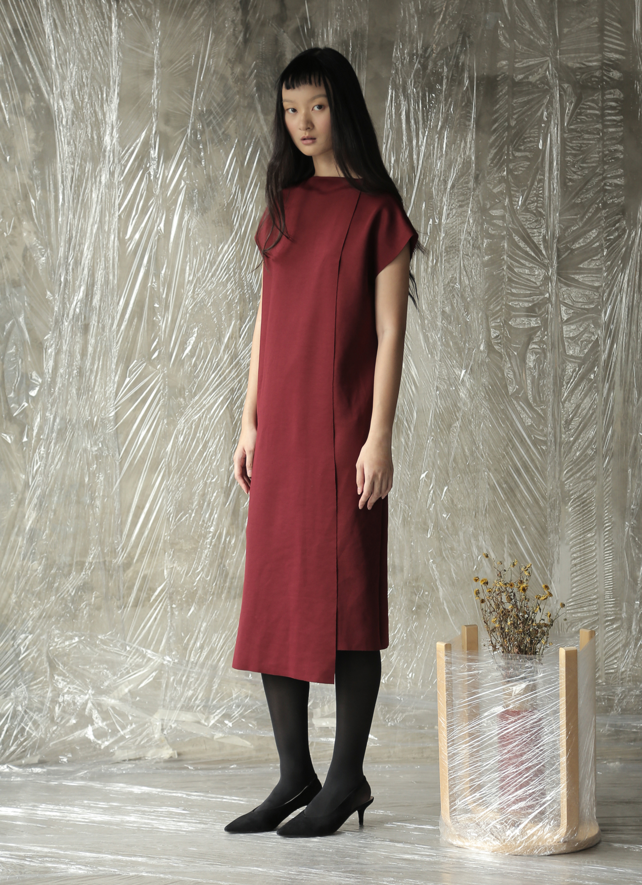 AVGAL COLLECTION Xue Dress - Maroon