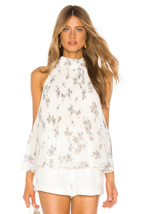 1. STATE Halter Tie Pleated Floral Belle Blouse