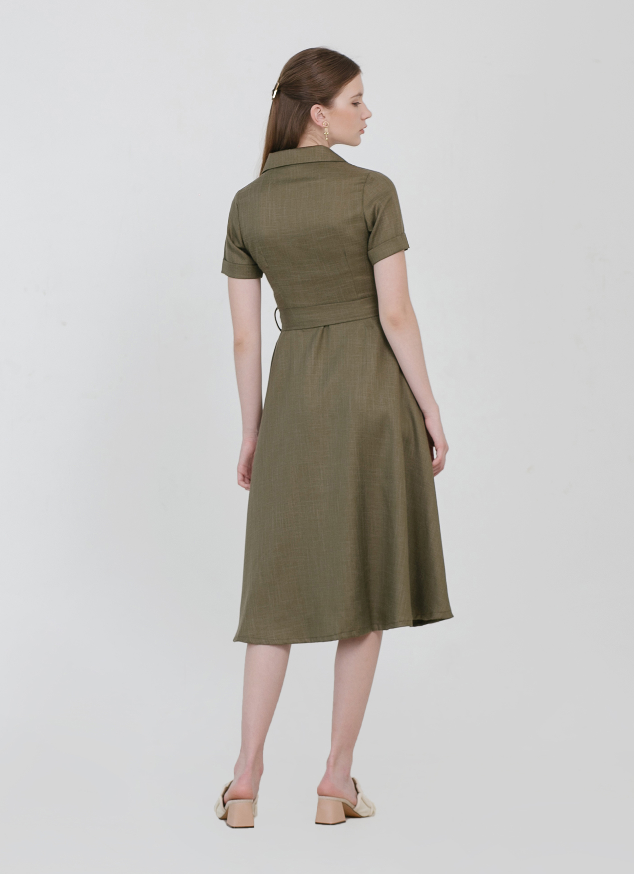 CLOTH INC Adele Tied Linen Dress - Olive