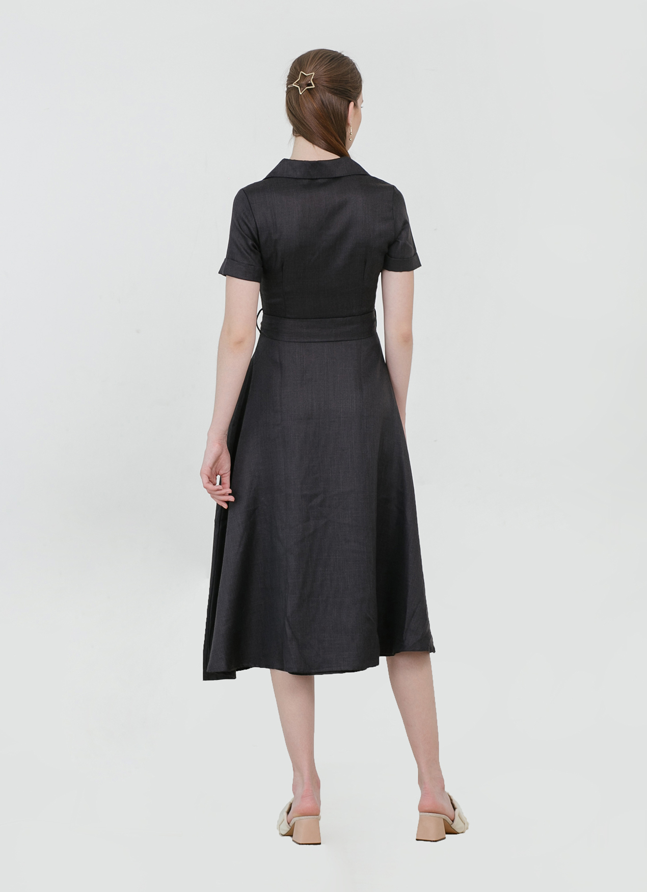 CLOTH INC Adele Tied Linen Dress - Charcoal