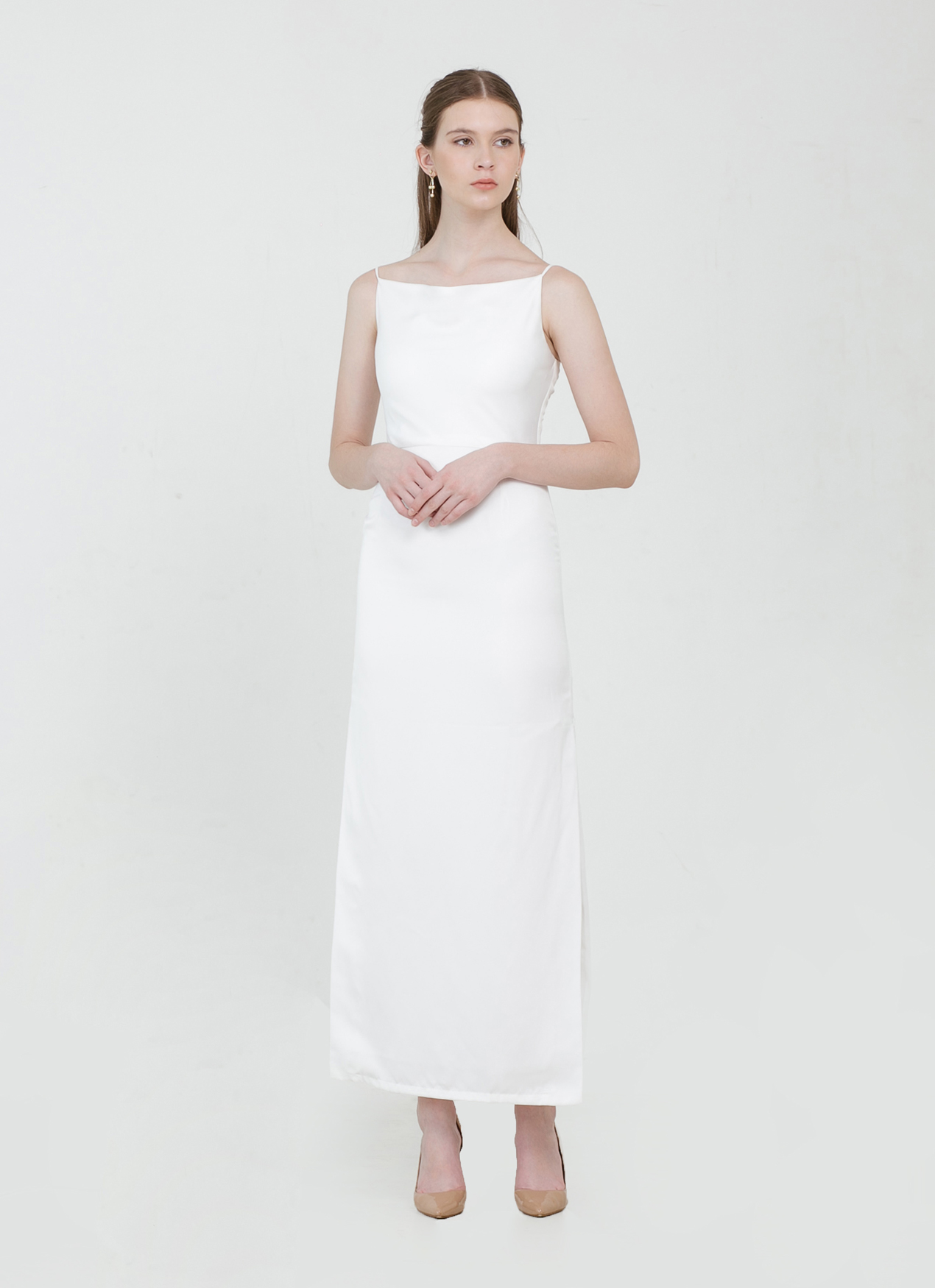 CLOTH INC Drapery Maxi Slit Dress - White
