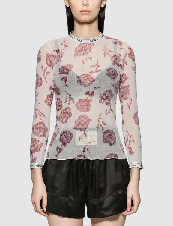Aries Rose Tulle Long Sleeve Top