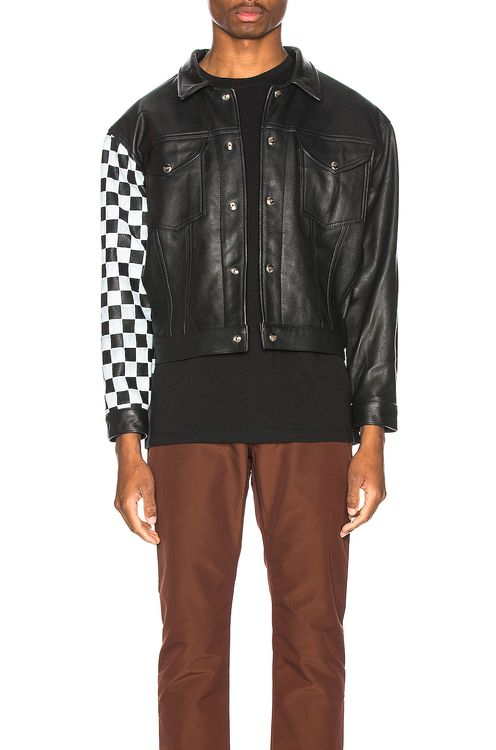 Enfants Riches Deprimes Checkered Sleeve Leather Jacket