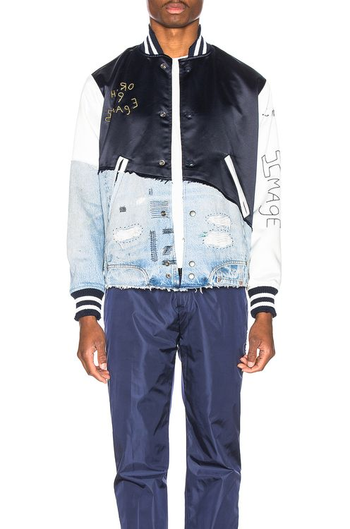 Greg Lauren Denim Varsity Jacket
