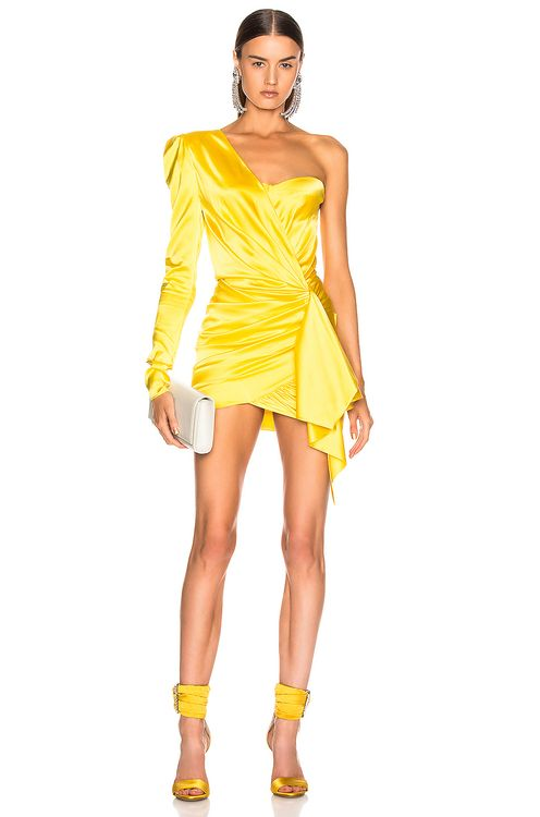 ALEXANDRE VAUTHIER One Shoulder Wrap Mini Dress