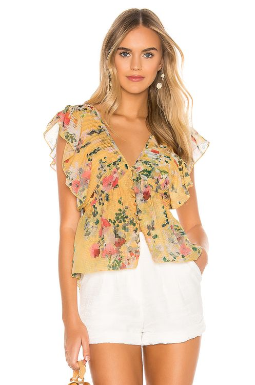 Divine Heritage Ruffle Button Up Blouse
