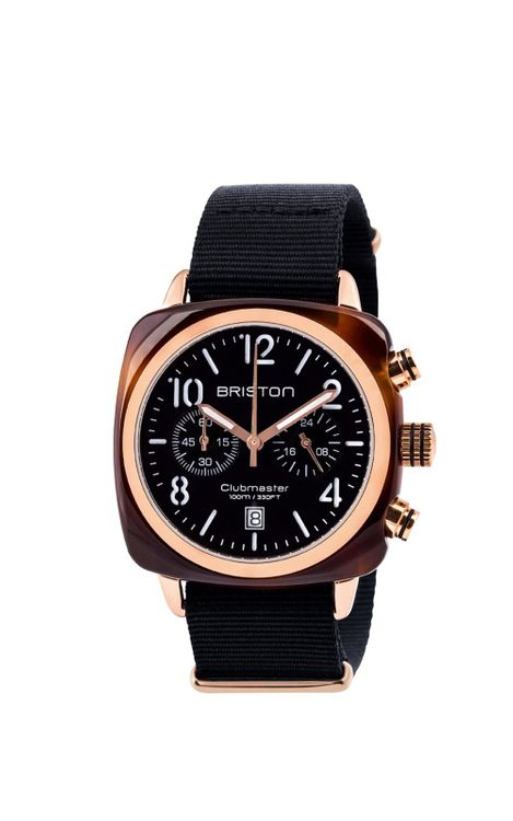 BRISTON Briston Clubmaster Classic Acetate Chronograph Black Dial Rose Gold 40mm