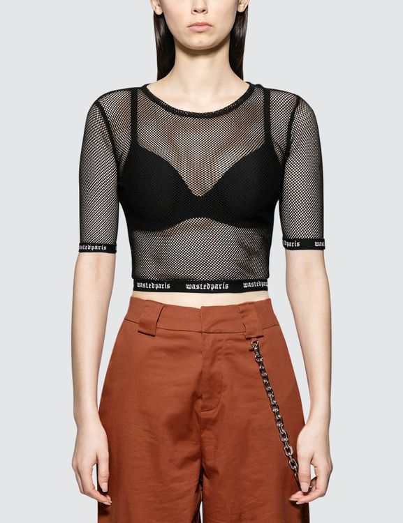 Wasted Paris Fishnet Crop Top
