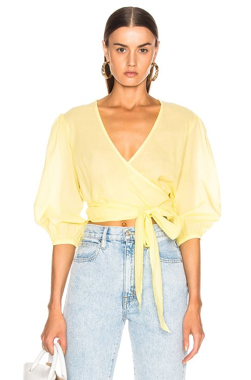 ENZA COSTA Ruff Sleeve Wrap Top