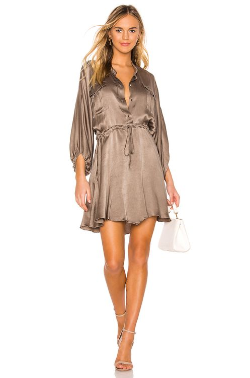 Shona Joy Elton Balloon Sleeve Drawstring Mini Dress