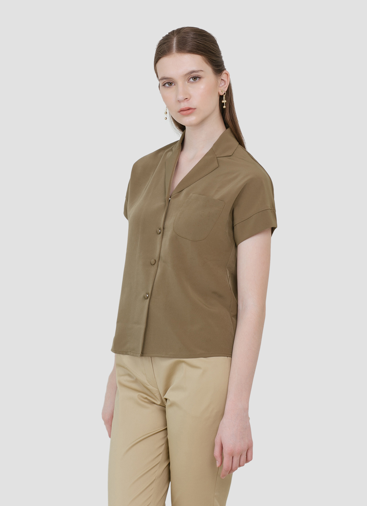 CLOTH INC Myra Lapel Shirt - Olive