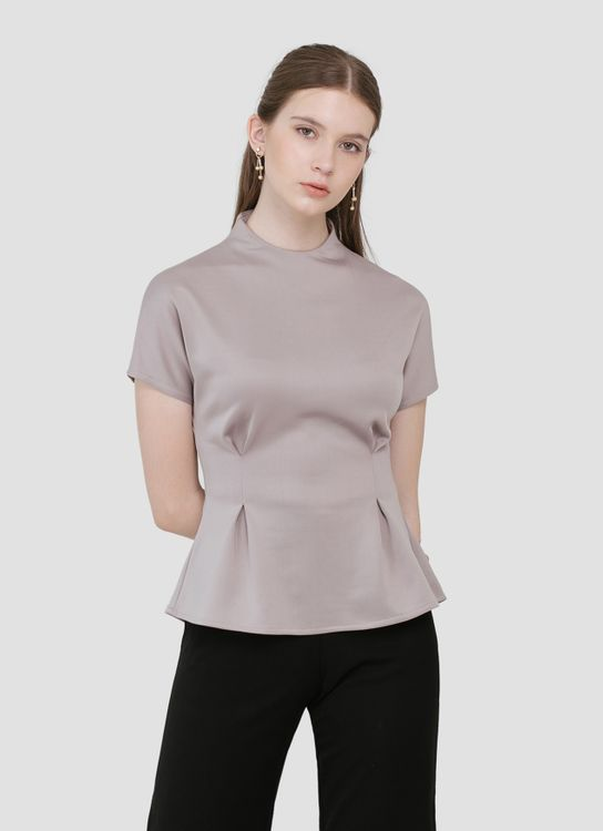 CLOTH INC Bea High Neck Top - Silver