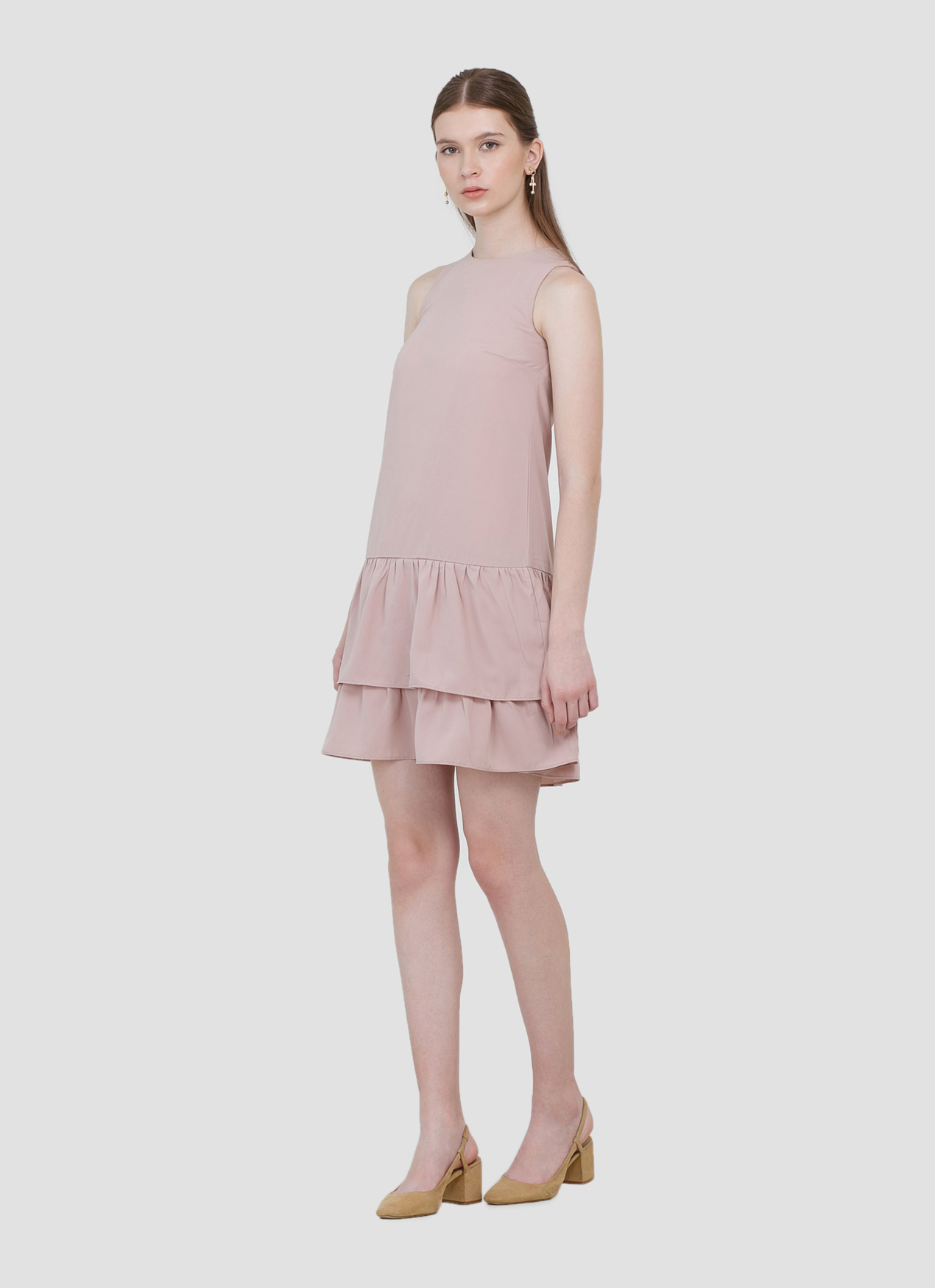 CLOTH INC Hannah Ruffle Dress - Mauve Pink