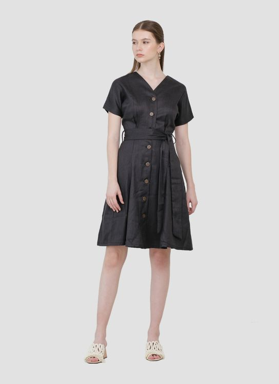 CLOTH INC Alana Button Tied Dress - Charcoal