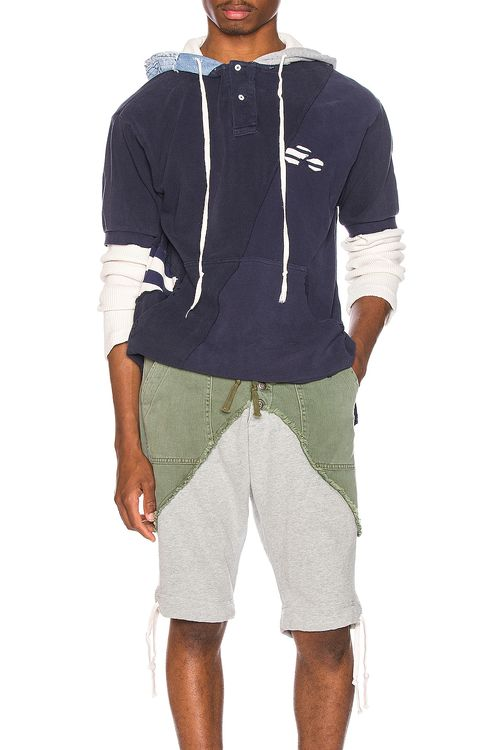 Greg Lauren Deconstructed Hooded Rugby Tee