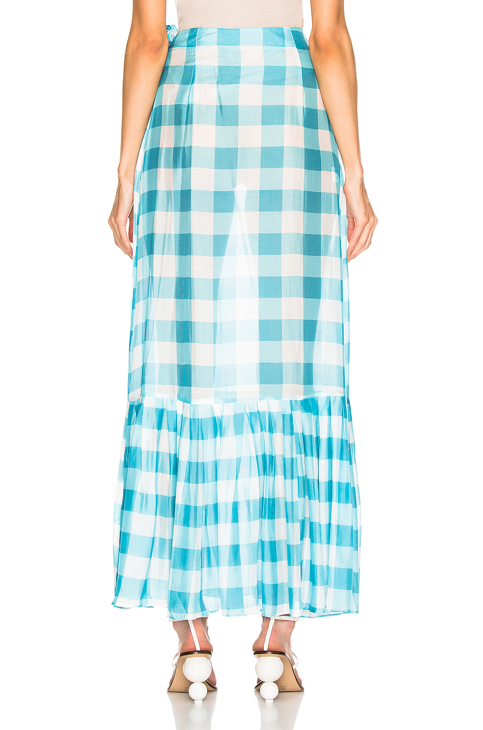 ADRIANA DEGREAS Vichy Long Pleated Skirt