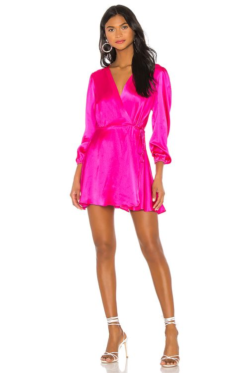 NONchalant Wrap Silk Mini Dress