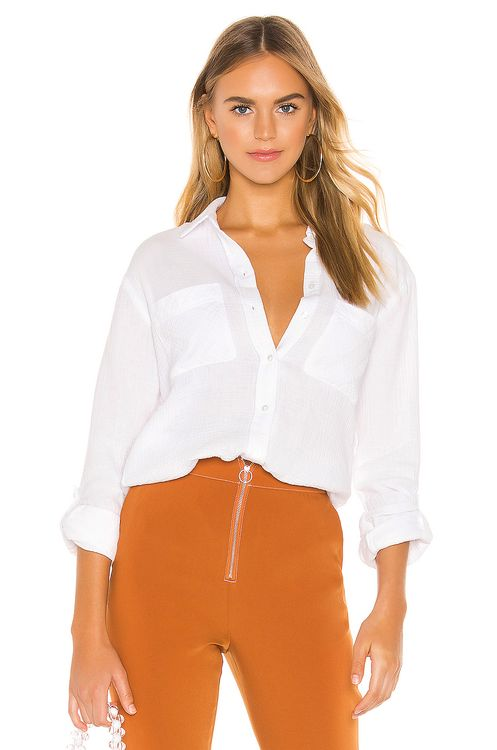 1. STATE Patch Pocket Roll Tab Double Gauze Top