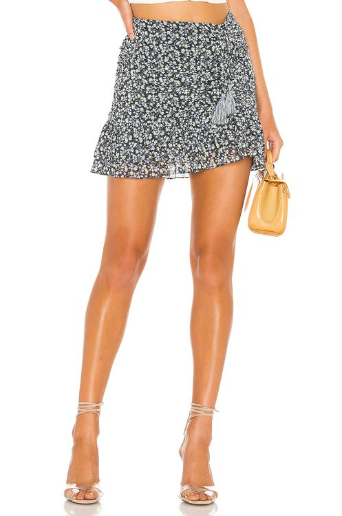 1. STATE Ruched Seam Cascading Calico Skirt