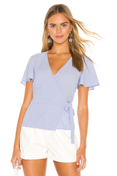 1. STATE Short Sleeve Wrap Front Flounce Sleeve Blouse
