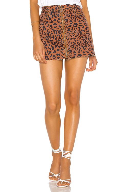 Free People Zip It Up Printed Mini Skirt