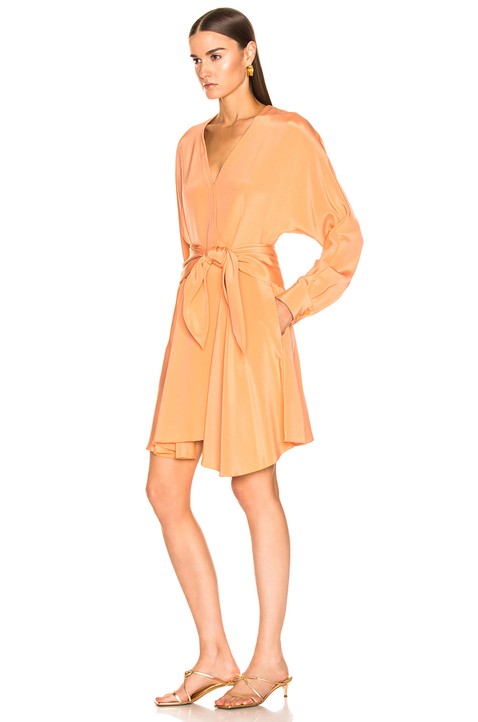 Tibi Long Sleeve Wrap Dress