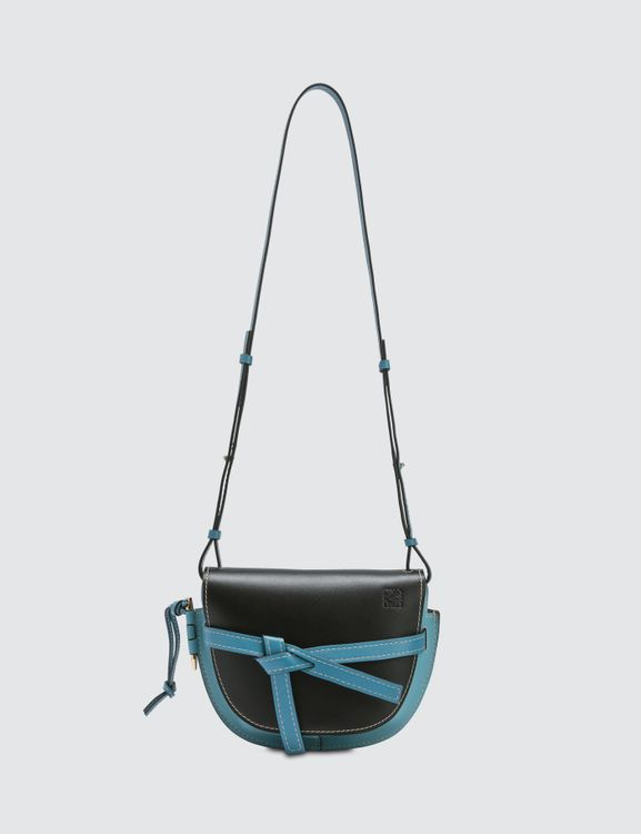 Loewe Gate Small Bag in Black and Light Blie
