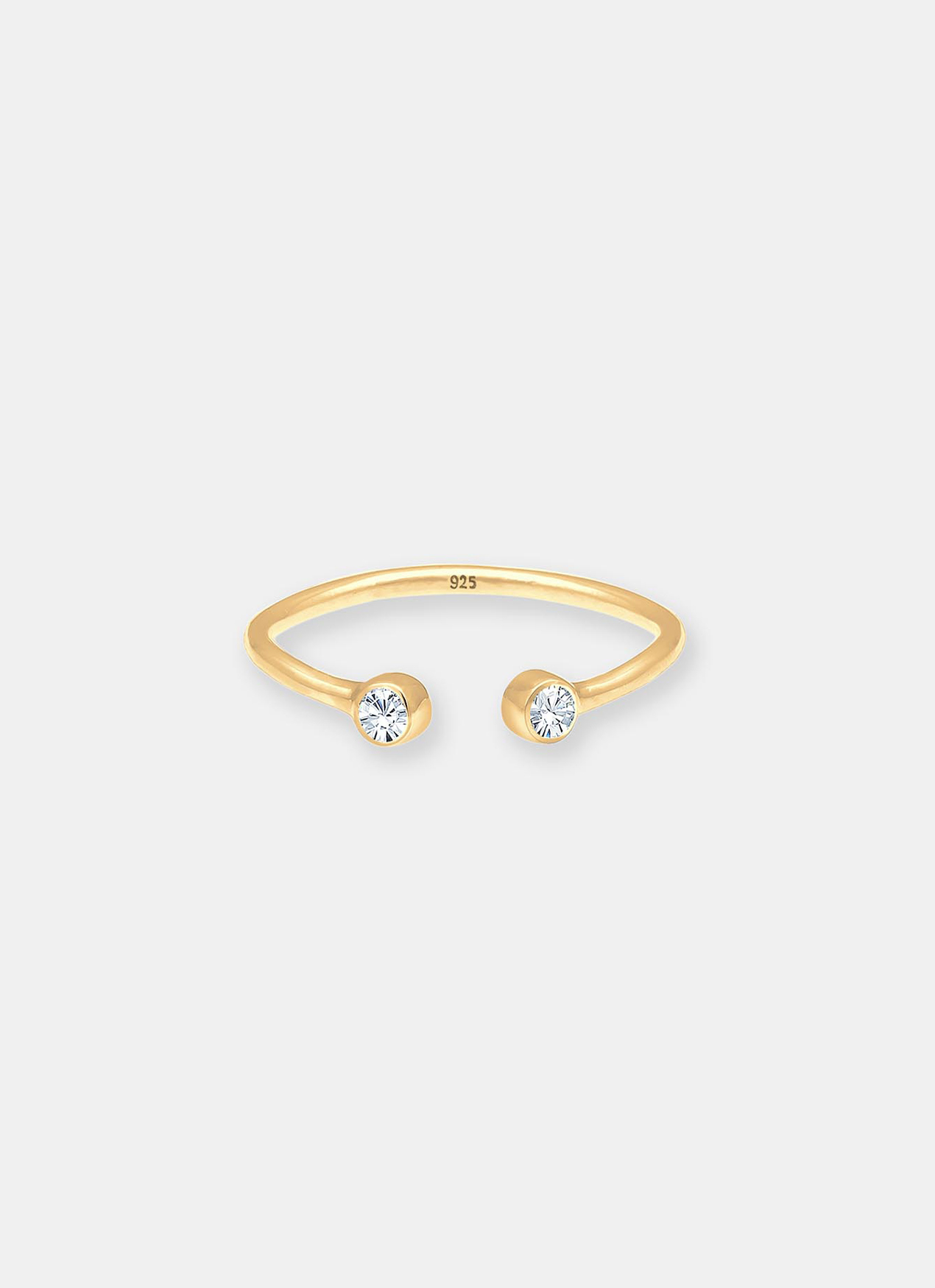 Elli Germany Solitaire Statement Swarovski Crystals Ring - Gold
