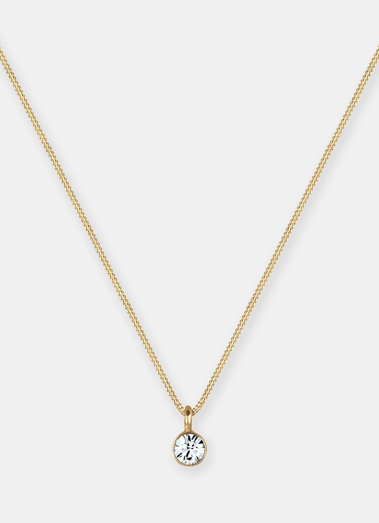 Elli Germany Solitaire Swarovski Crystal Necklace - Gold
