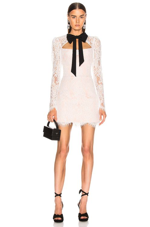 RASARIO Lace Corset Mini Dress with Bow