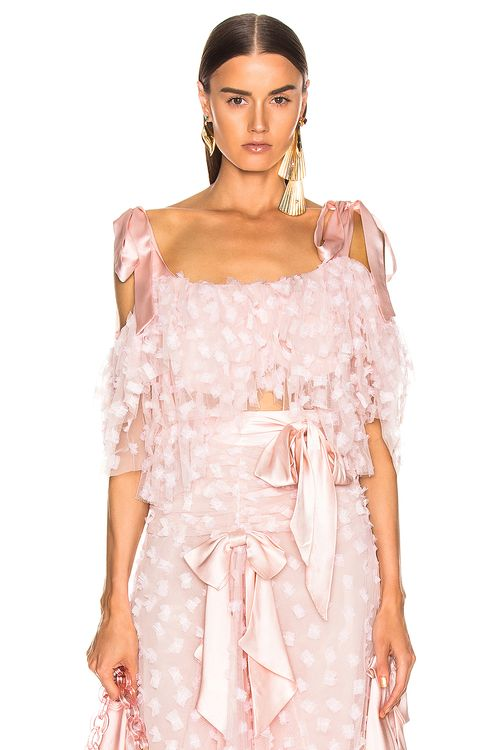 Rodarte Embroidered Bow Tiered Off the Shoulder Blouse