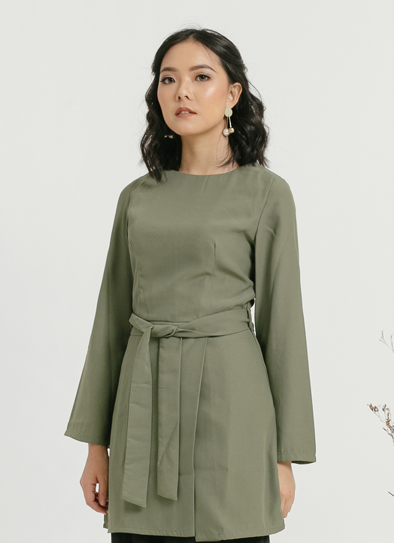 CLOTH INC Palma Tied Blouse - Pine Green