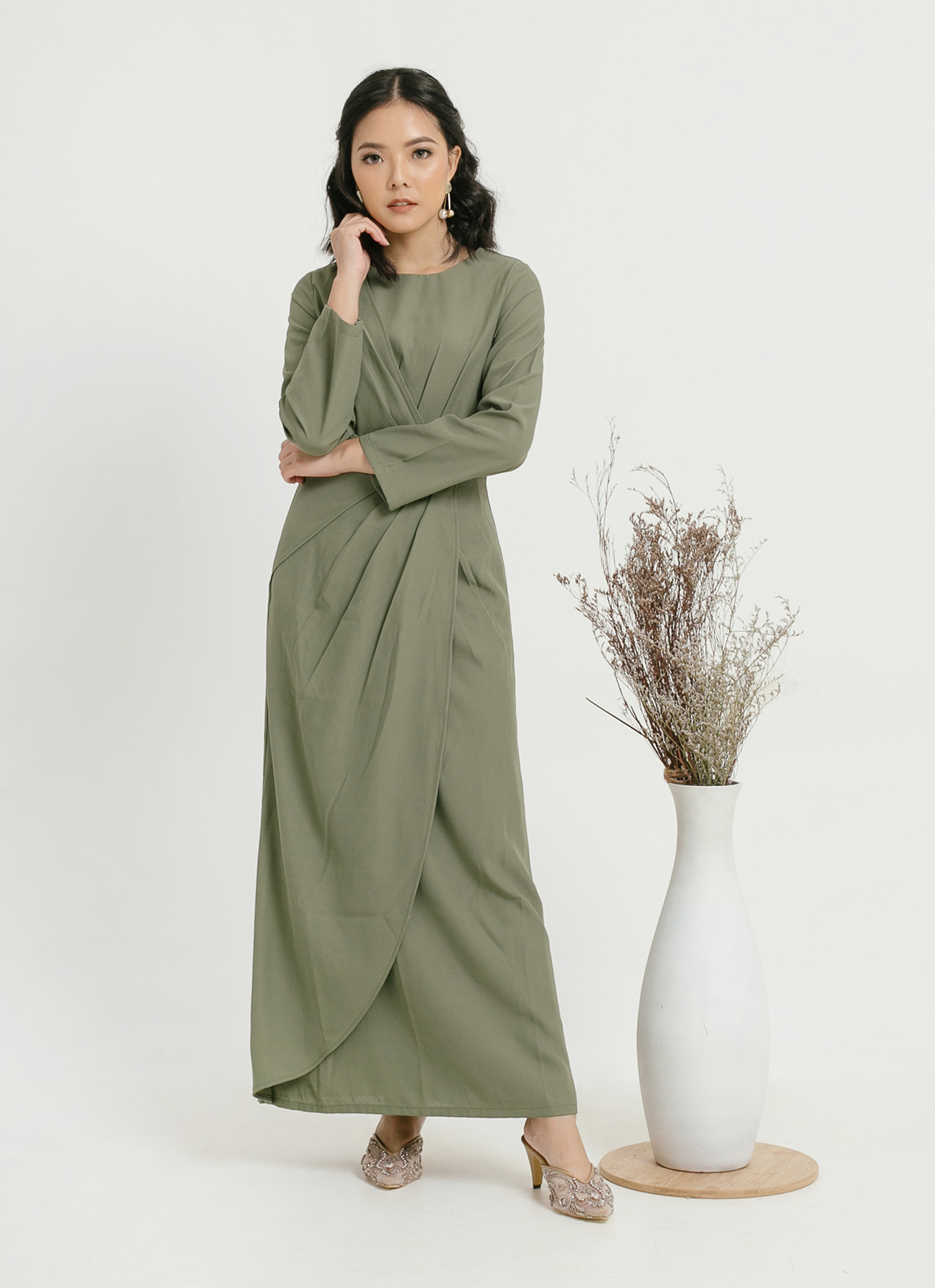 CLOTH INC Laila Overlap Pleat Dress - Pine Green