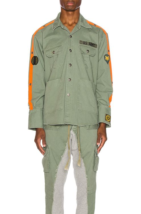 Greg Lauren Striped Army Shirt