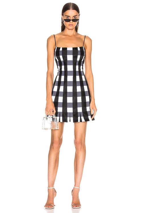 RASARIO Checked Satin Mini Dress
