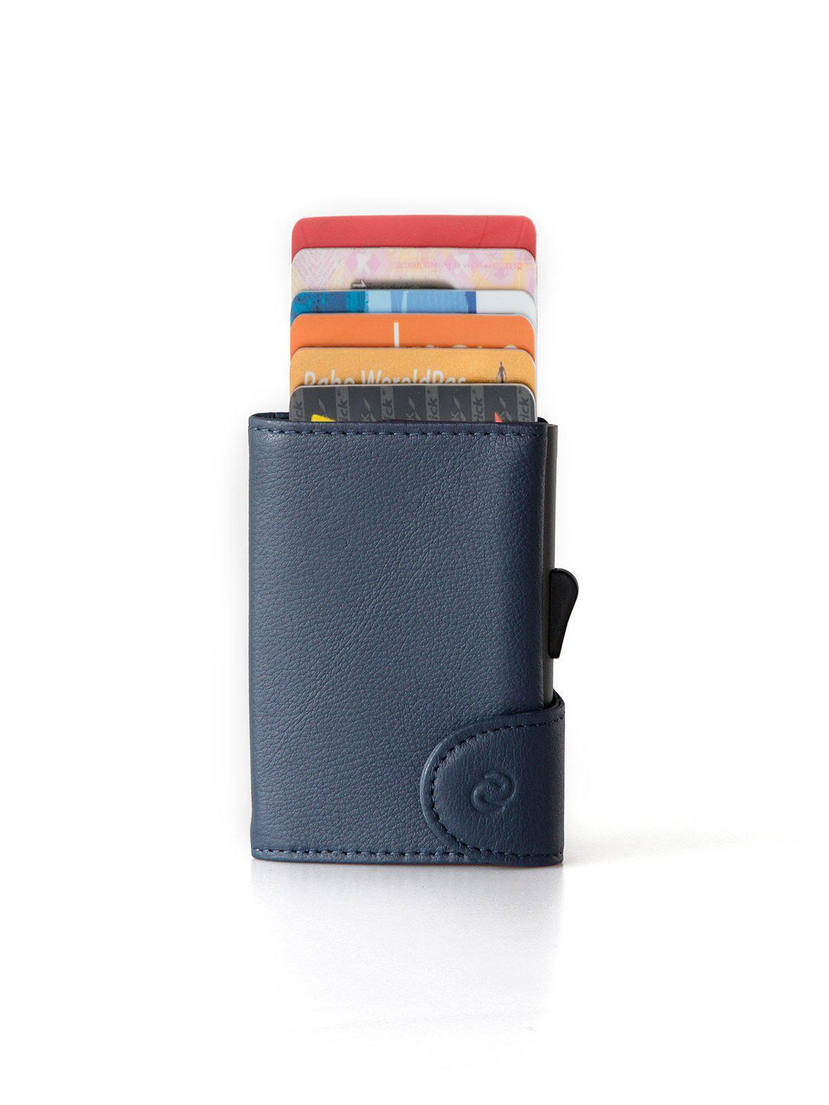 ab9feec40462 C-Secure Italian Leather RFID Wallet With Coin Pouch Blue, C-Secure