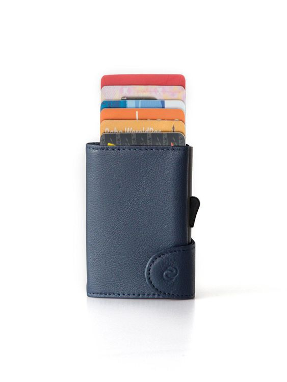 C-Secure C-Secure Italian Leather RFID Wallet With Coin Pouch Blue