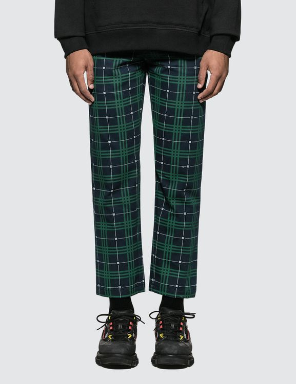 Wasted Paris Green and Blue Tartan Pants