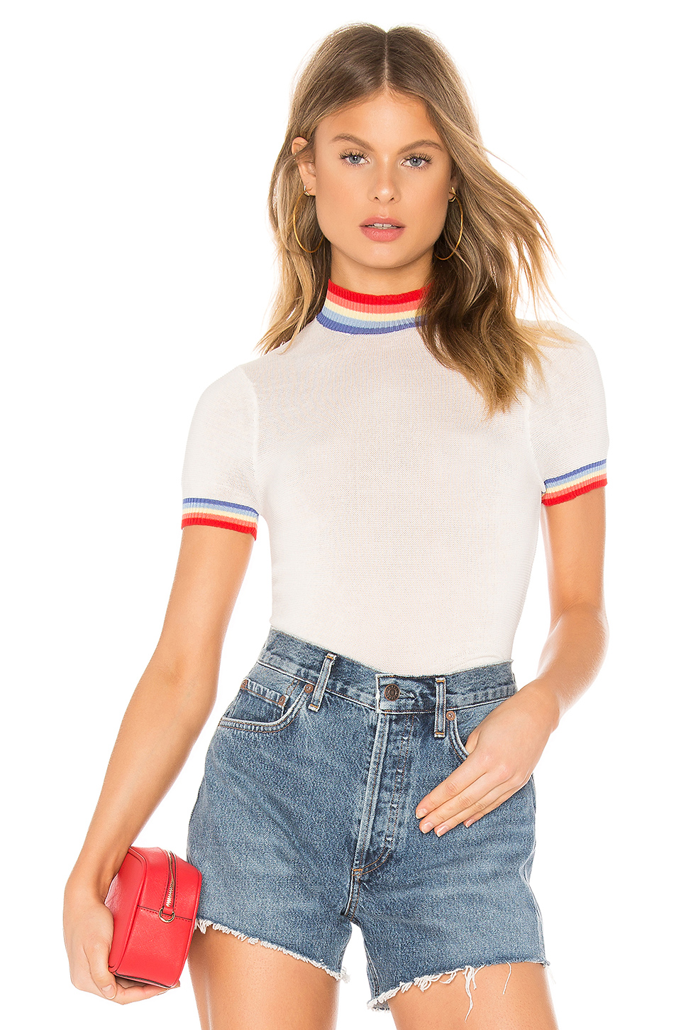 Rainbow Stripe Crop Sweater Tee, Spiritual Gangster