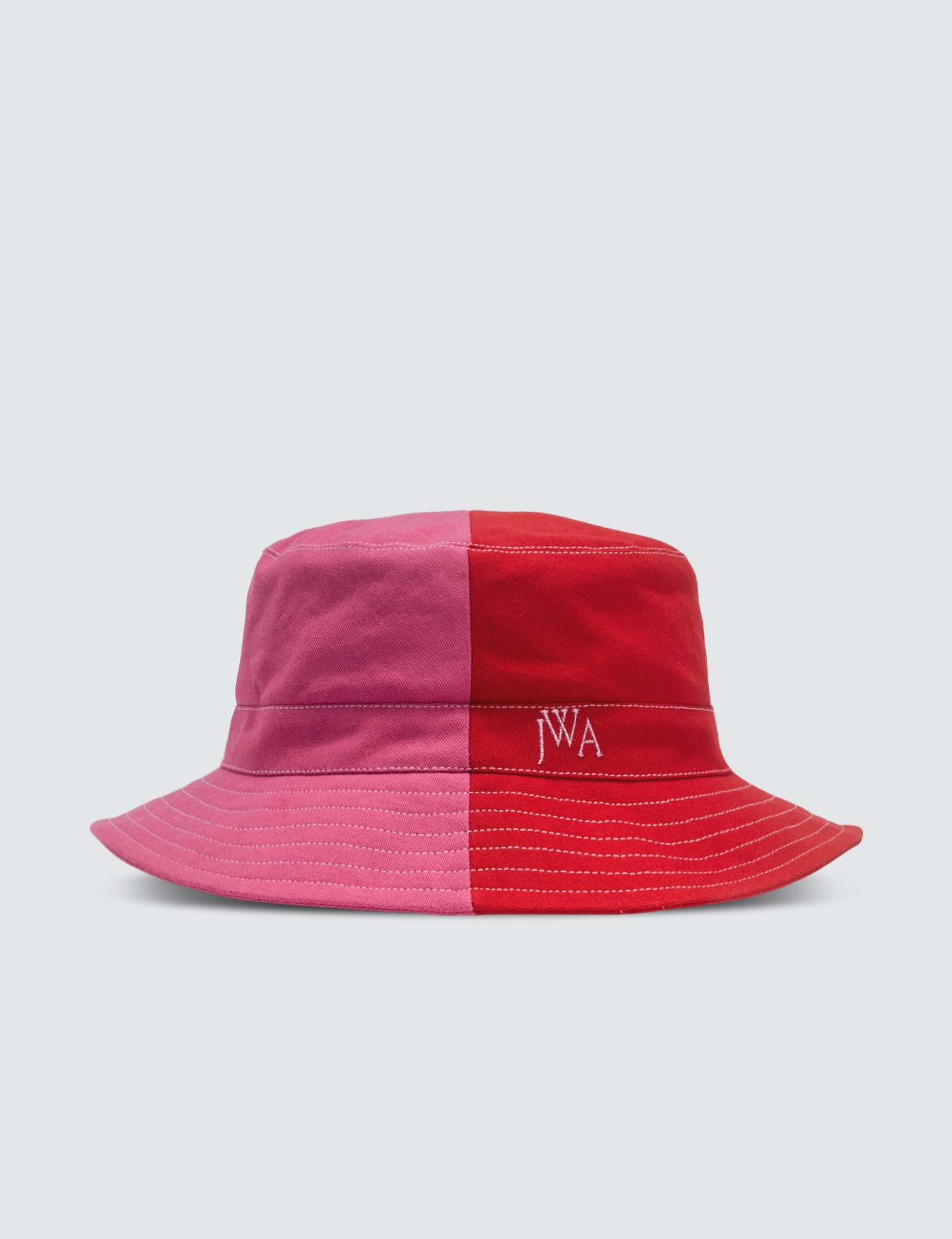 57caae4e ... Hat; JW Anderson HBX Exclusive Red & Pink Colorblocked Bucket ...