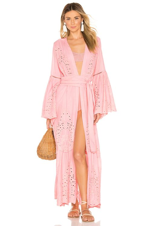 we are LEONE Embroidered Maxi Cardigan Dress