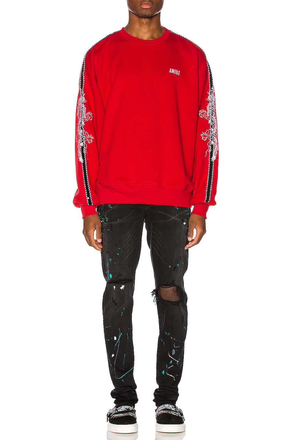 Amiri Dragon Outline Crewneck