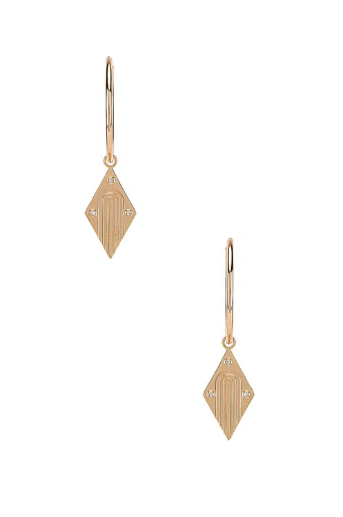 Elizabeth Stone Diamond Dangle Earrings