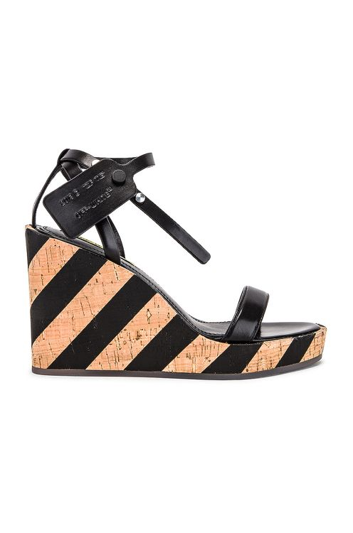 Off-White Striped Wedge Sandal
