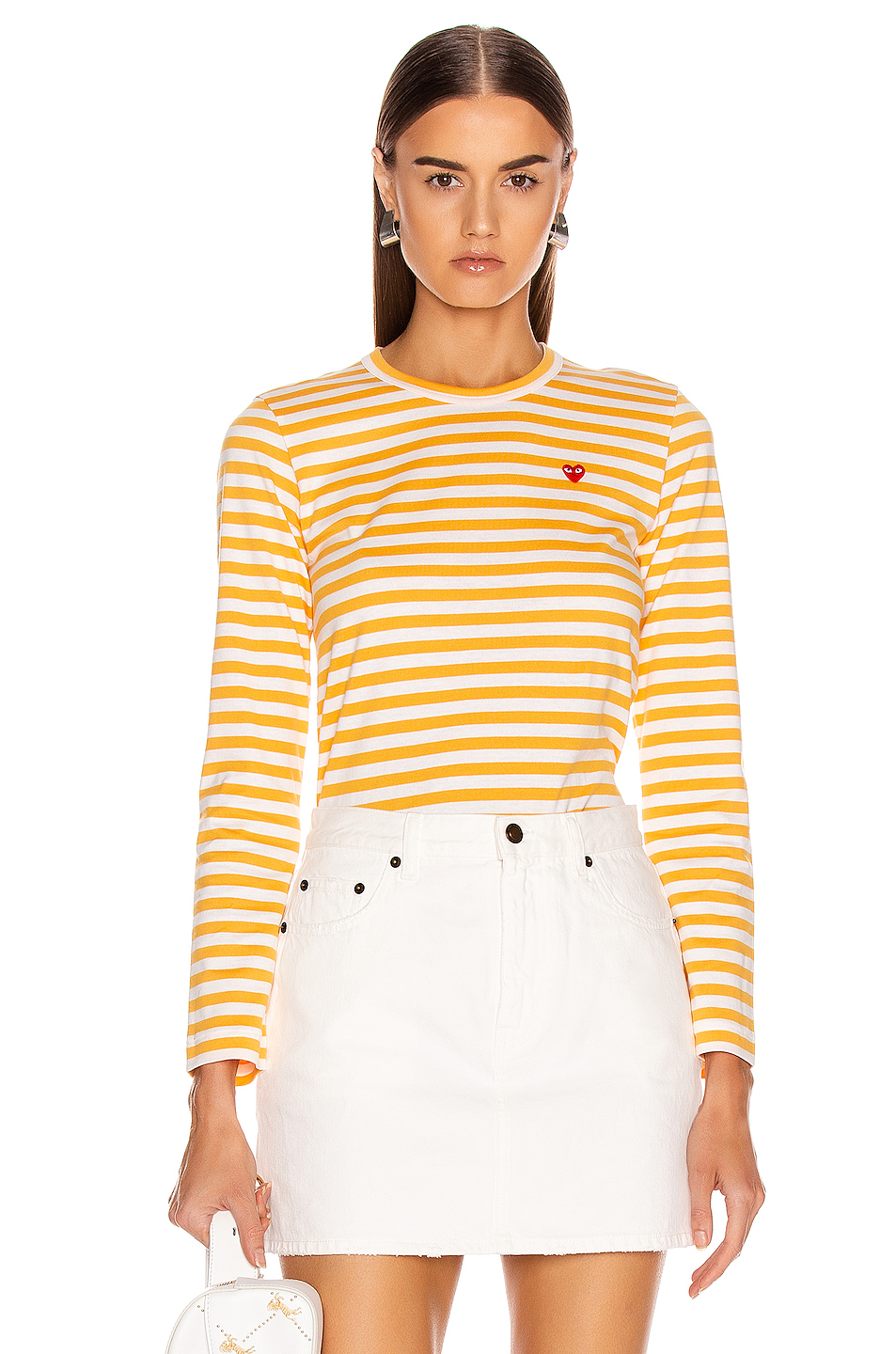 b284ee14f0 Jual Comme Des Garcons PLAY Small Red Heart Striped Tee - 100 ...